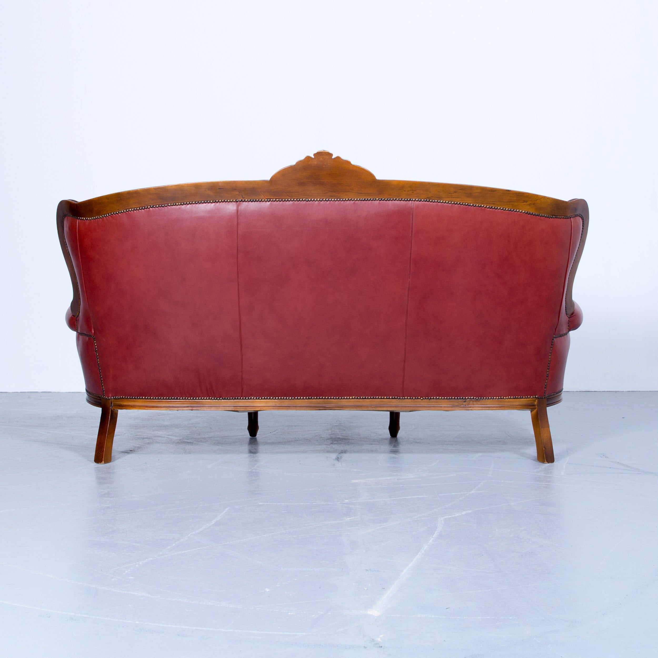 Couch Sessel Barock Chesterfield Sofa Red Brown Leather Three Seat Couch Vintage Rivets