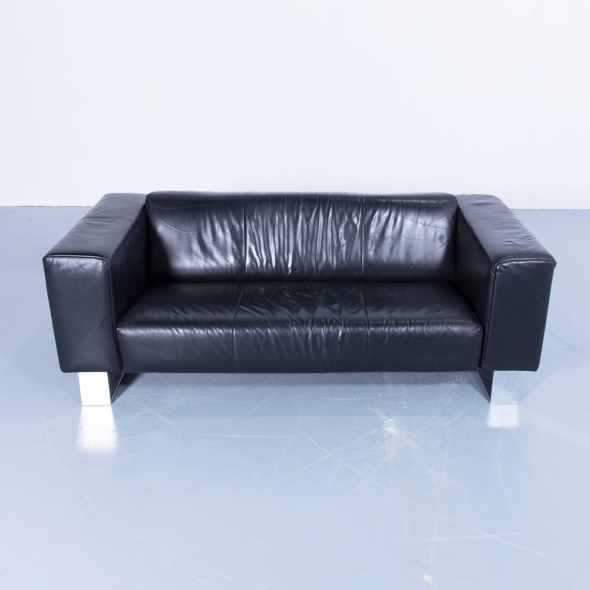 Benz Couch Rolf Benz Bmp Designer Sofa Leather Black Three Seat Couch Modern Metal Chrome