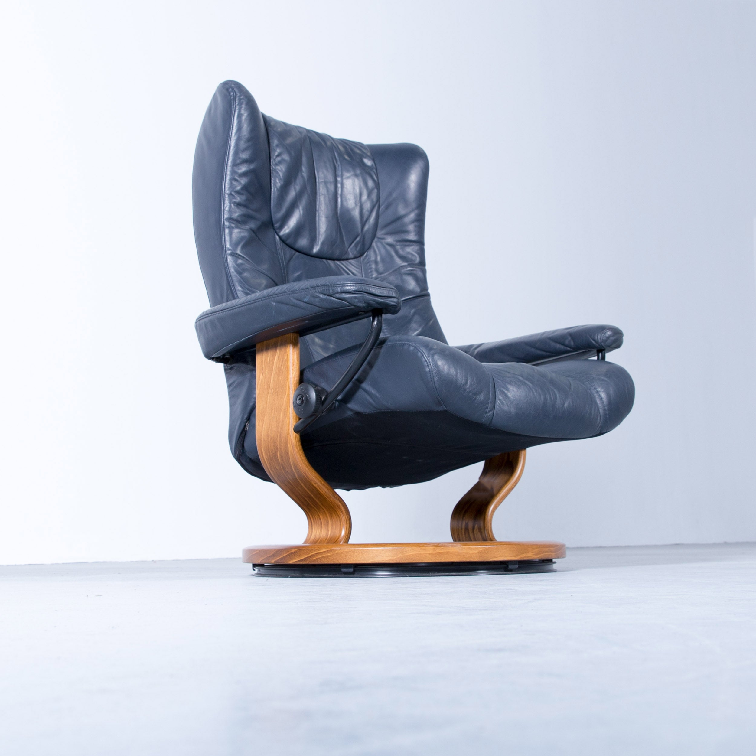 Stressless Sessel Wing Stressless Wing Relax Armchair Dark Blue Leather Relax Function Tv Recliner