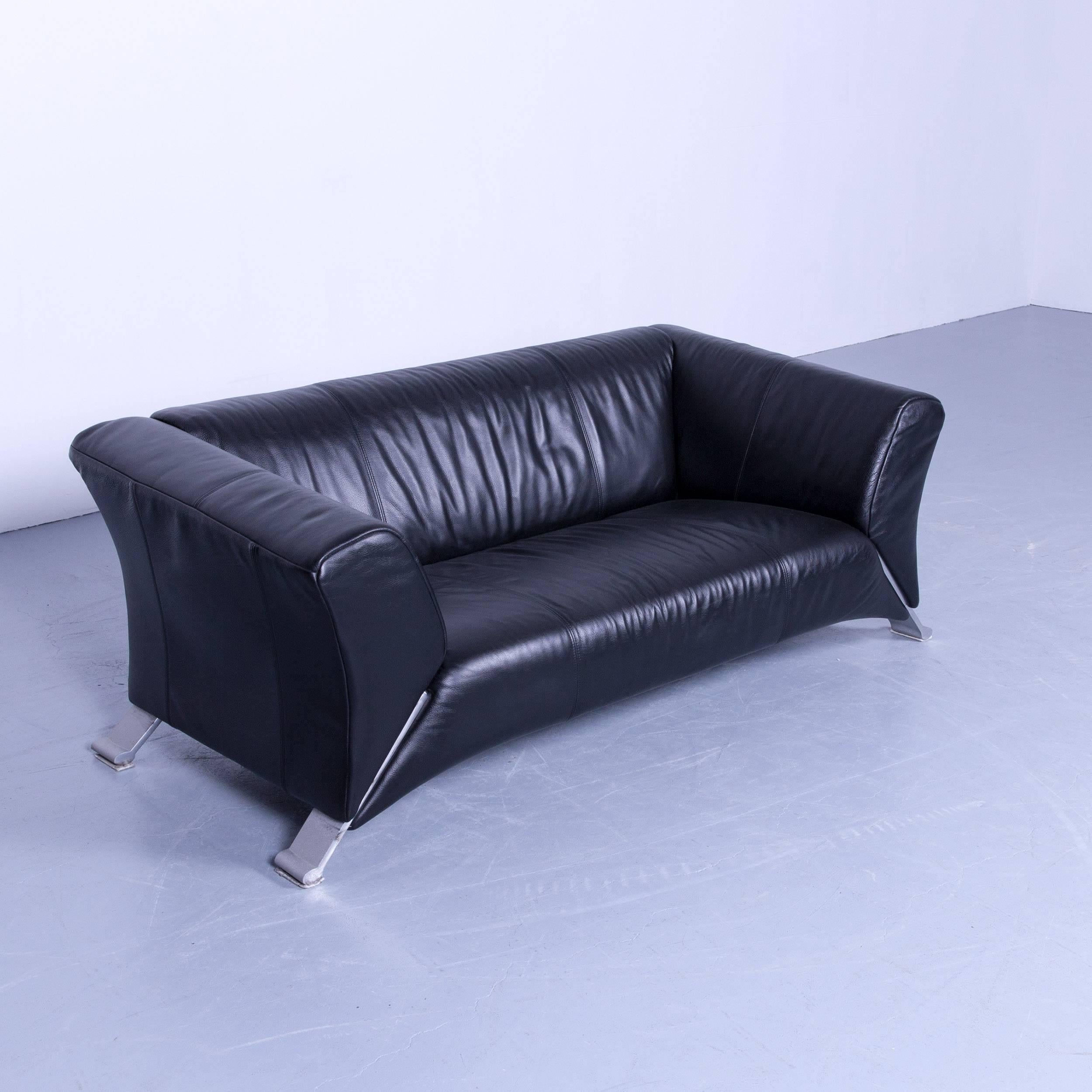 Rolf Benz 322 Sessel Rolf Benz 322 Designer Sofa Black Two Seat Leather Modern Couch Metal Feet