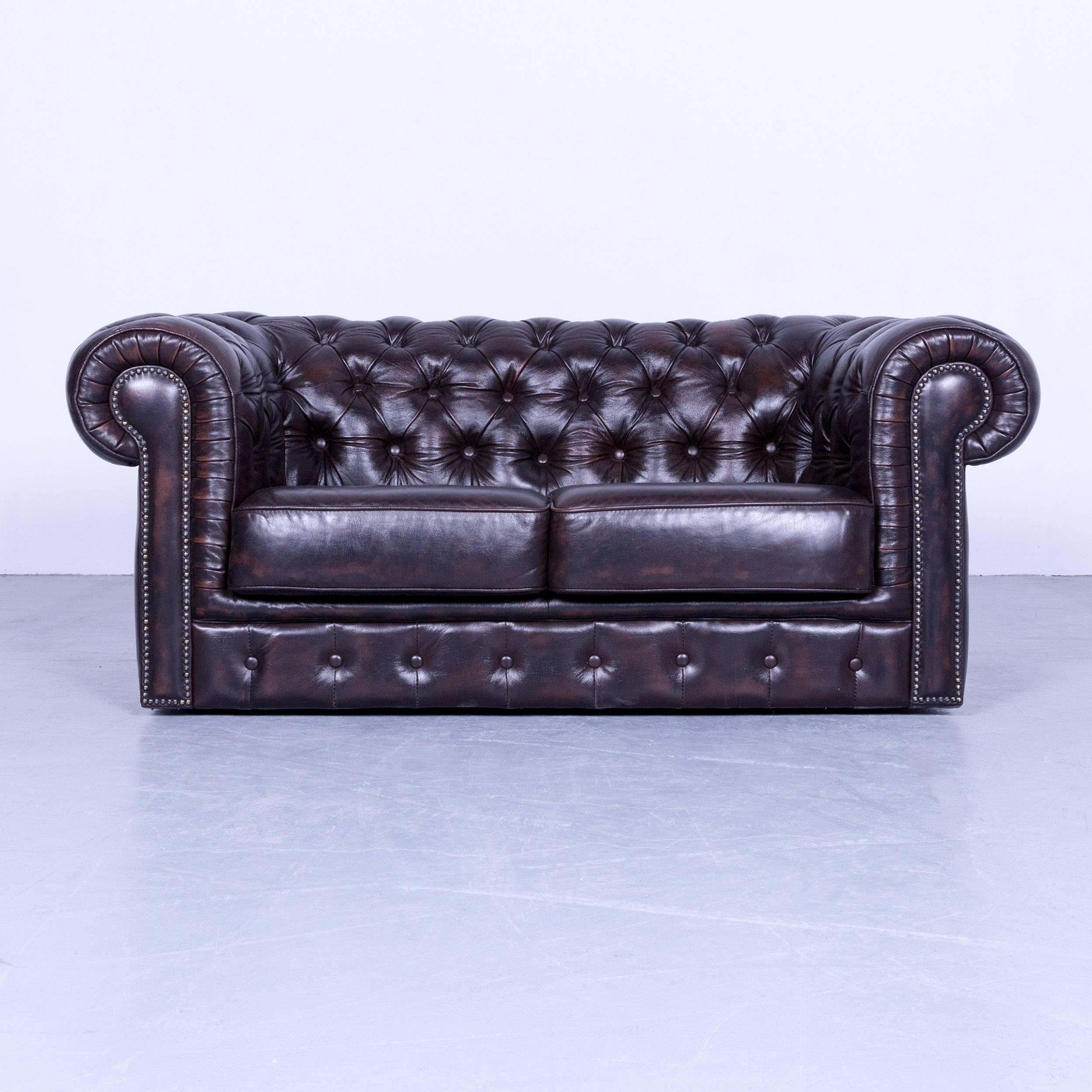 Chesterfield Clubsessel Chesterfield Two Seat Sofa Cluc Chair Dark Brown Mocca Vintage Rivets