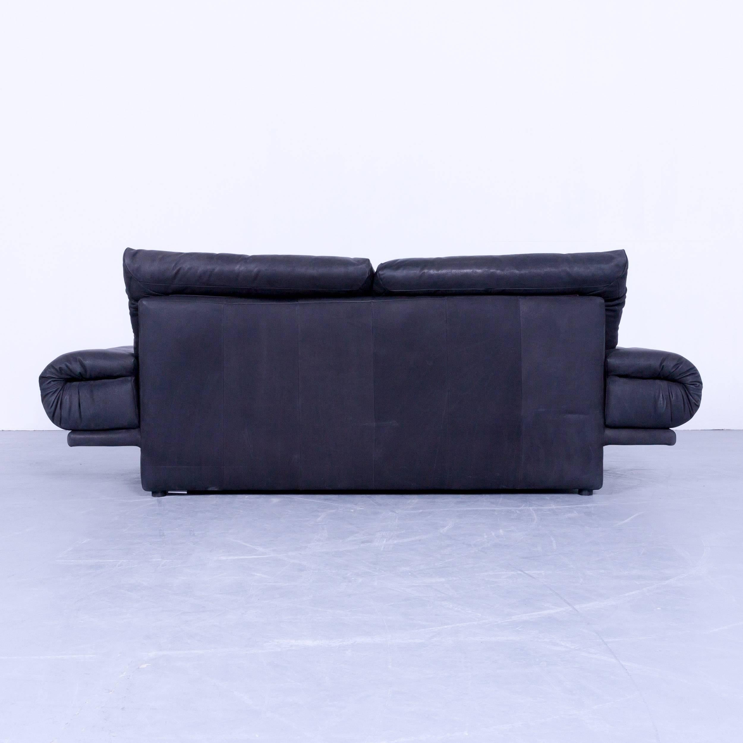 Rolf Benz Sofa 345 Rolf Benz 345 Designer Sofa Leather Black Three Seat Couch Modern Vintage Retro