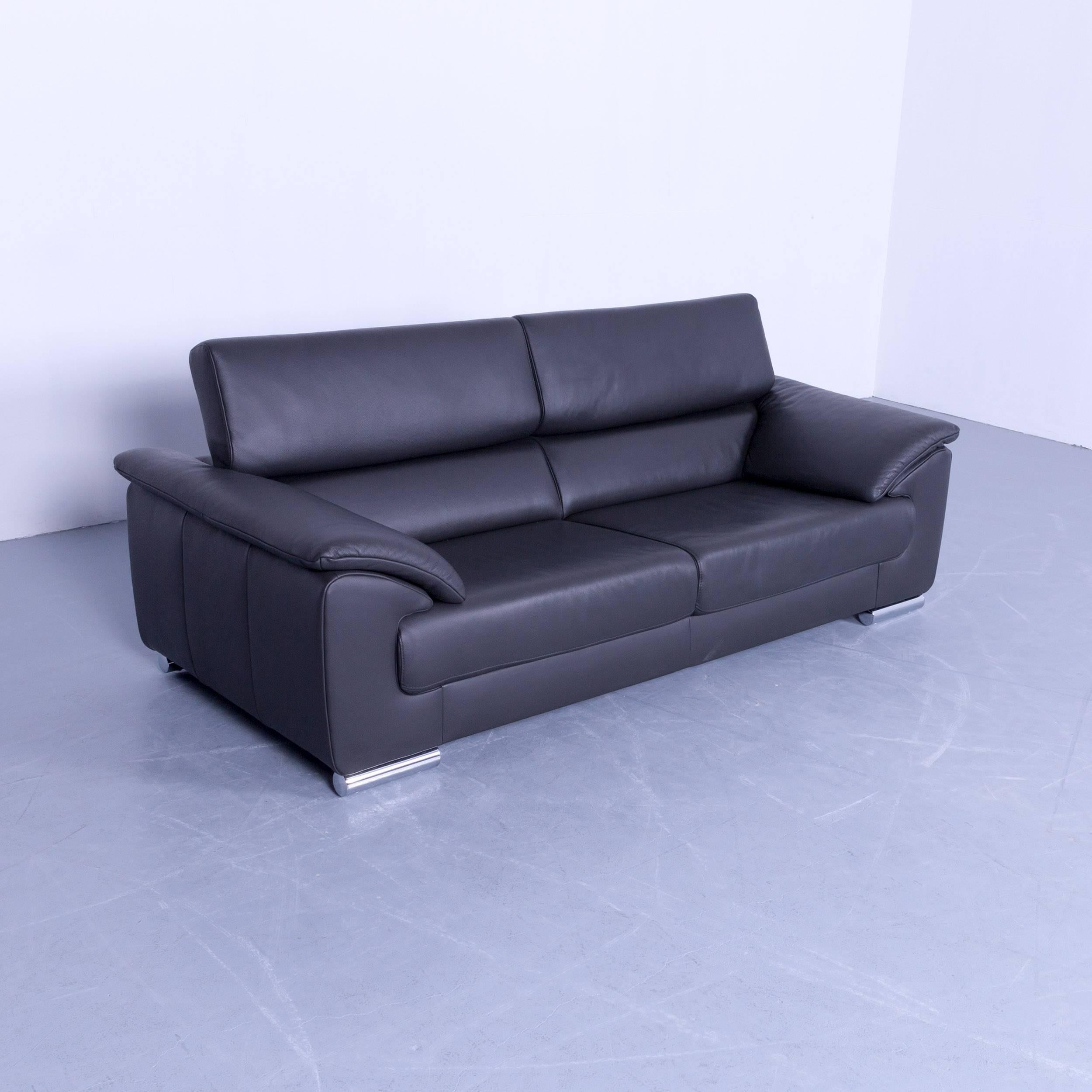 Ewald Schillig Designer Sofa Ewald Schillig Brand Blues Designer Sofa Anthracite Dark Grey Leather Couch