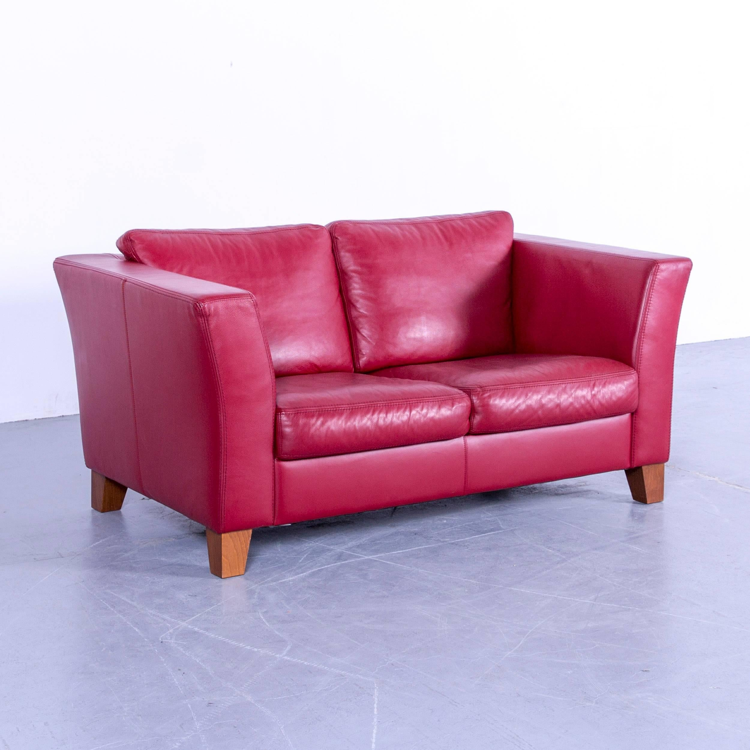Couch Rot Machalke Designer Leather Sofa Red Two Seat Couch