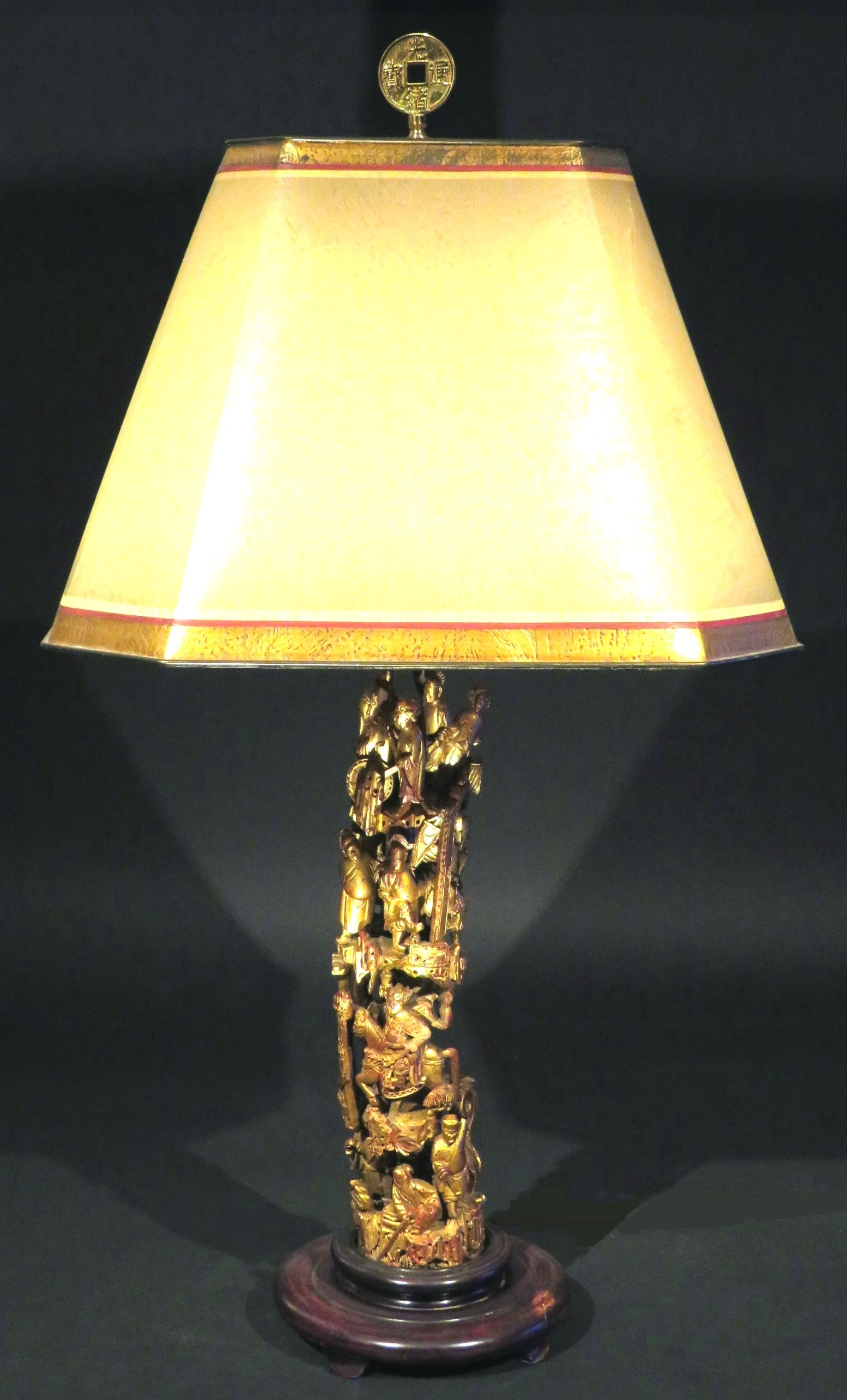 Highly Decorative Richly Carved Oriental Giltwood Table Lamp China Circa 1950 For Sale At 1stdibs