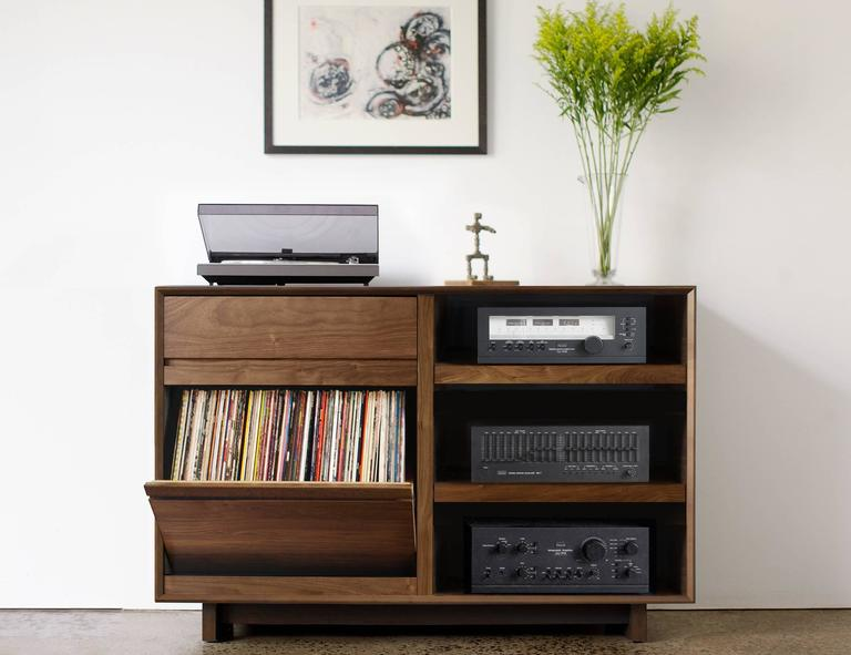 Modern 51quot Lp Storage Media Console Entertainment Cabinet
