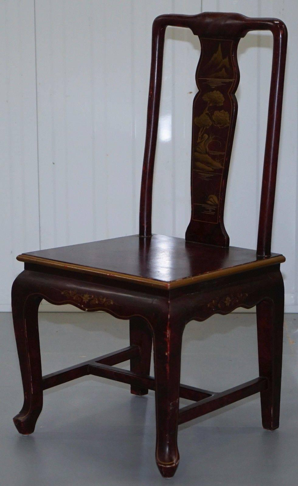 Antique Lacquered Chinese Chair Of Medium Proportions Bonsai Tree Detail For Sale At 1stdibs