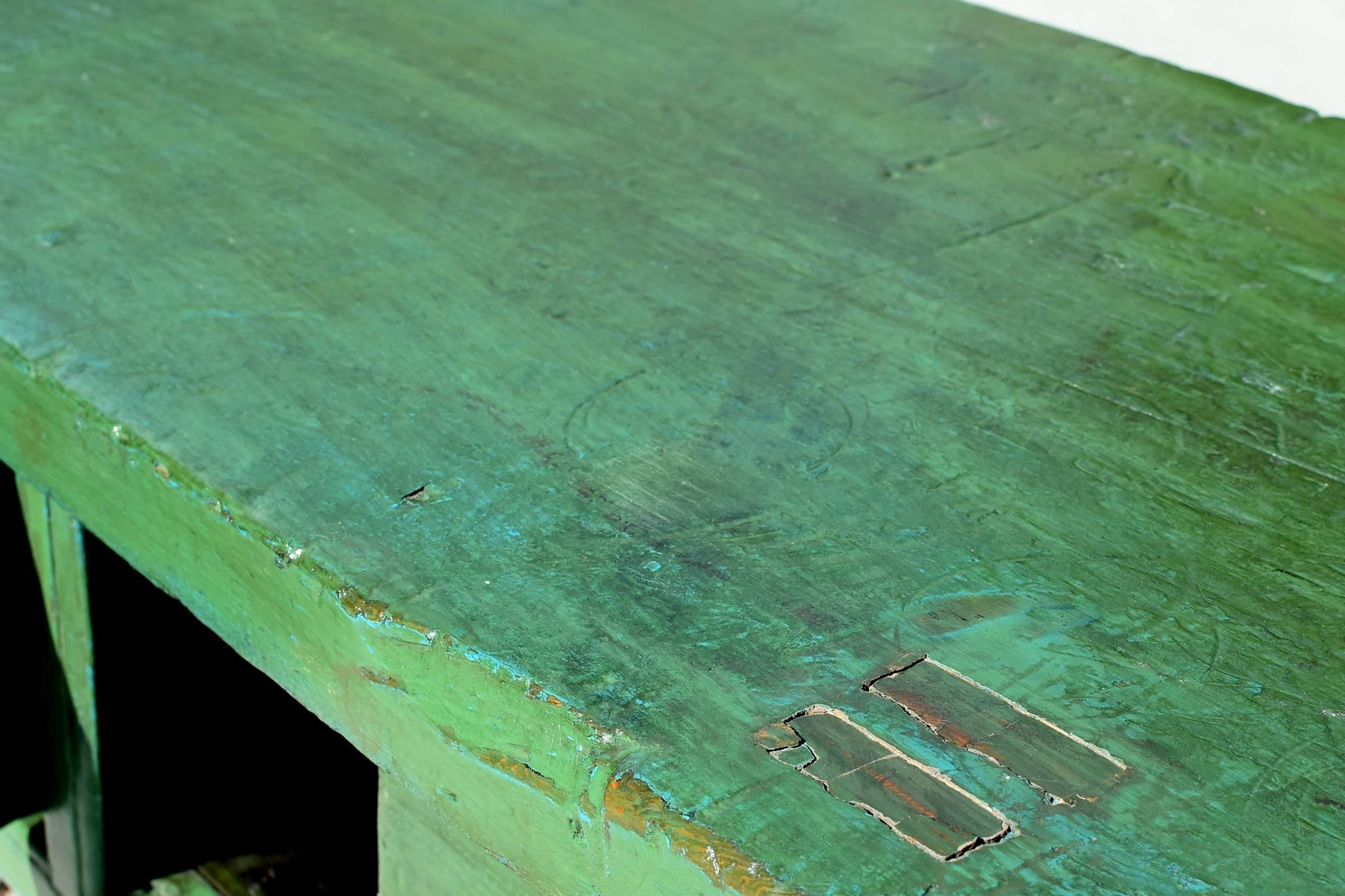 green rustic antique farm table single board sliding doors at 1stdibs