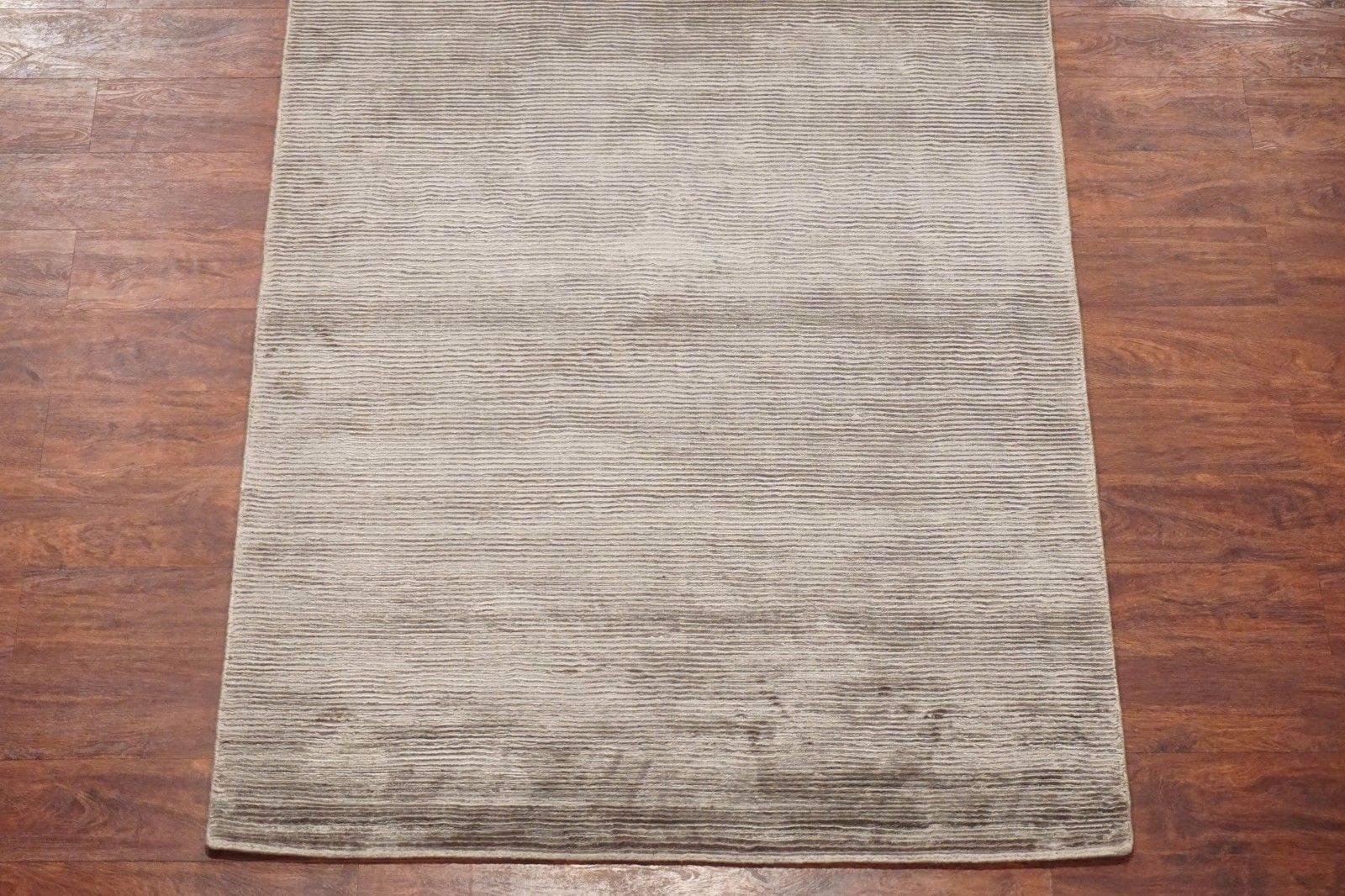 Modern Bamboo Silk Area Rug With Striped Design For Sale