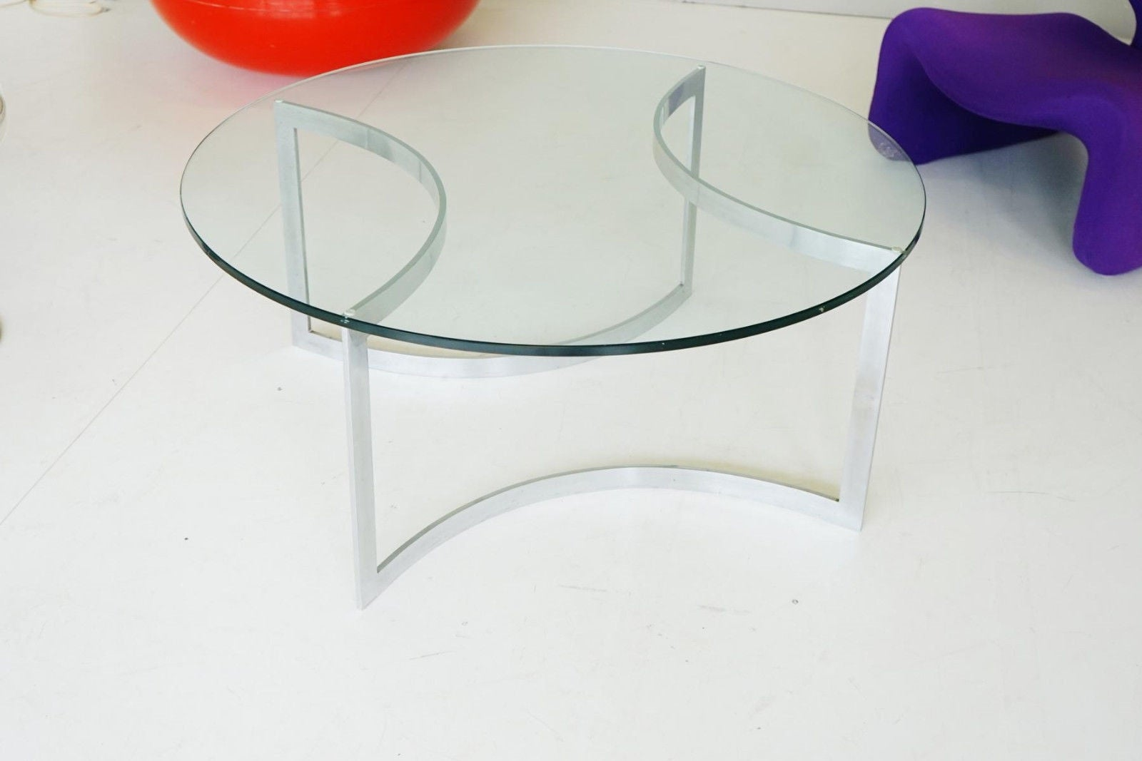 Couchtisch Glass Glass Chrome Coffee Side Cocktail Couch Table 1960s