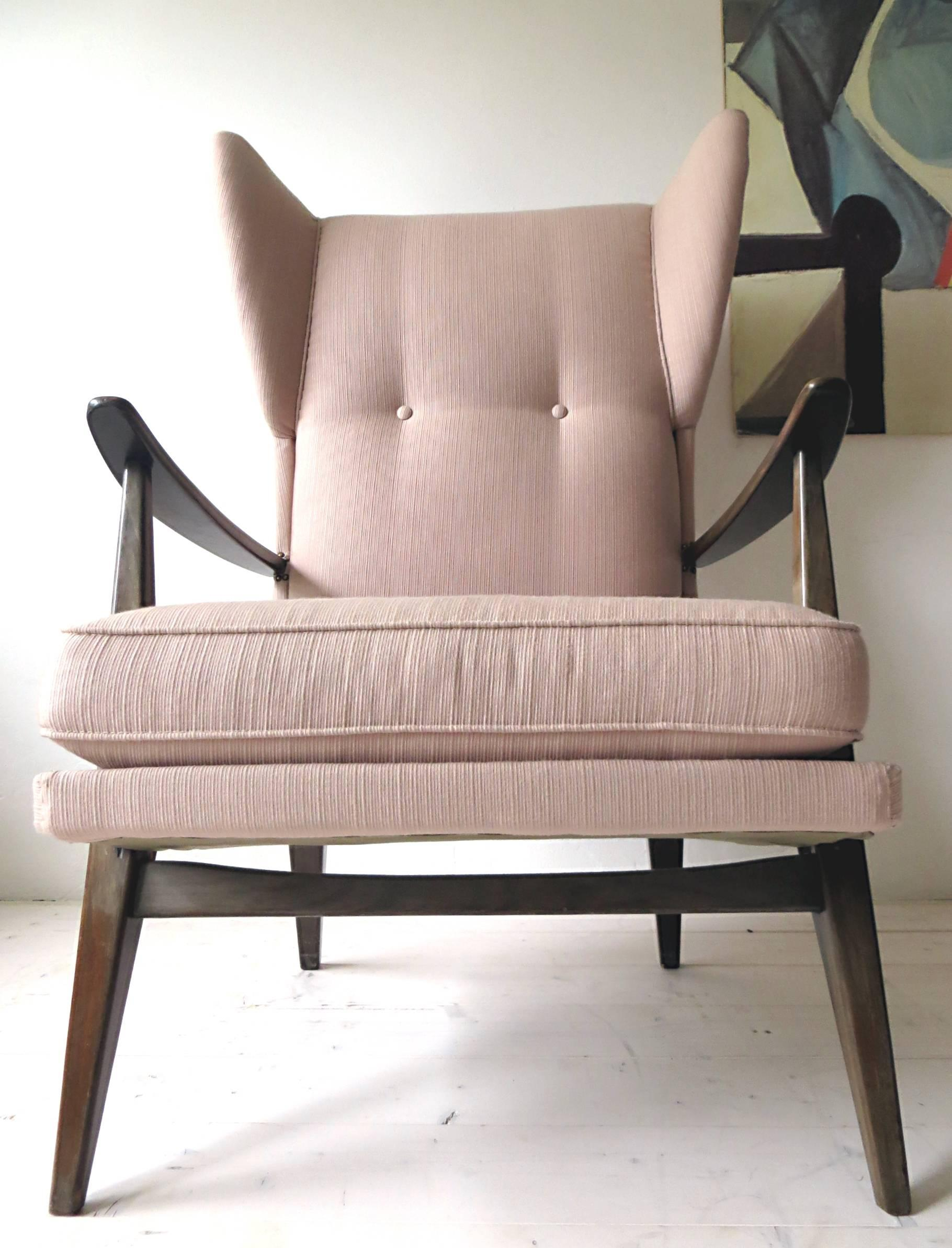 Knoll Antimott Sessel 1950s Knoll Antimott Wingback Chair By Walter Knoll In Fine Old Rose At 1stdibs