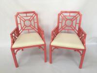 Lilly Pulitzer Pink Chinese Chippendale Chairs at 1stdibs