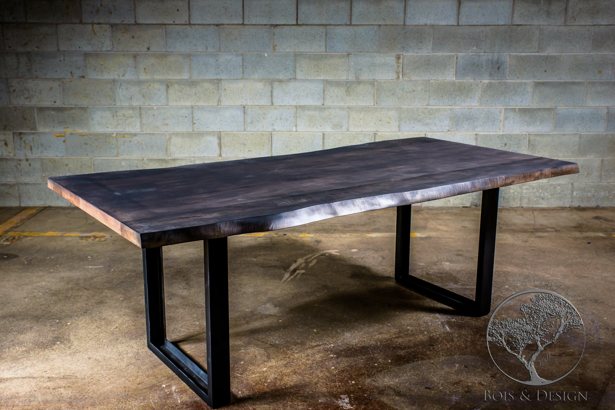 Table En Bois Design Maple Dining Table Stained Grey On U Shape Steel Legs