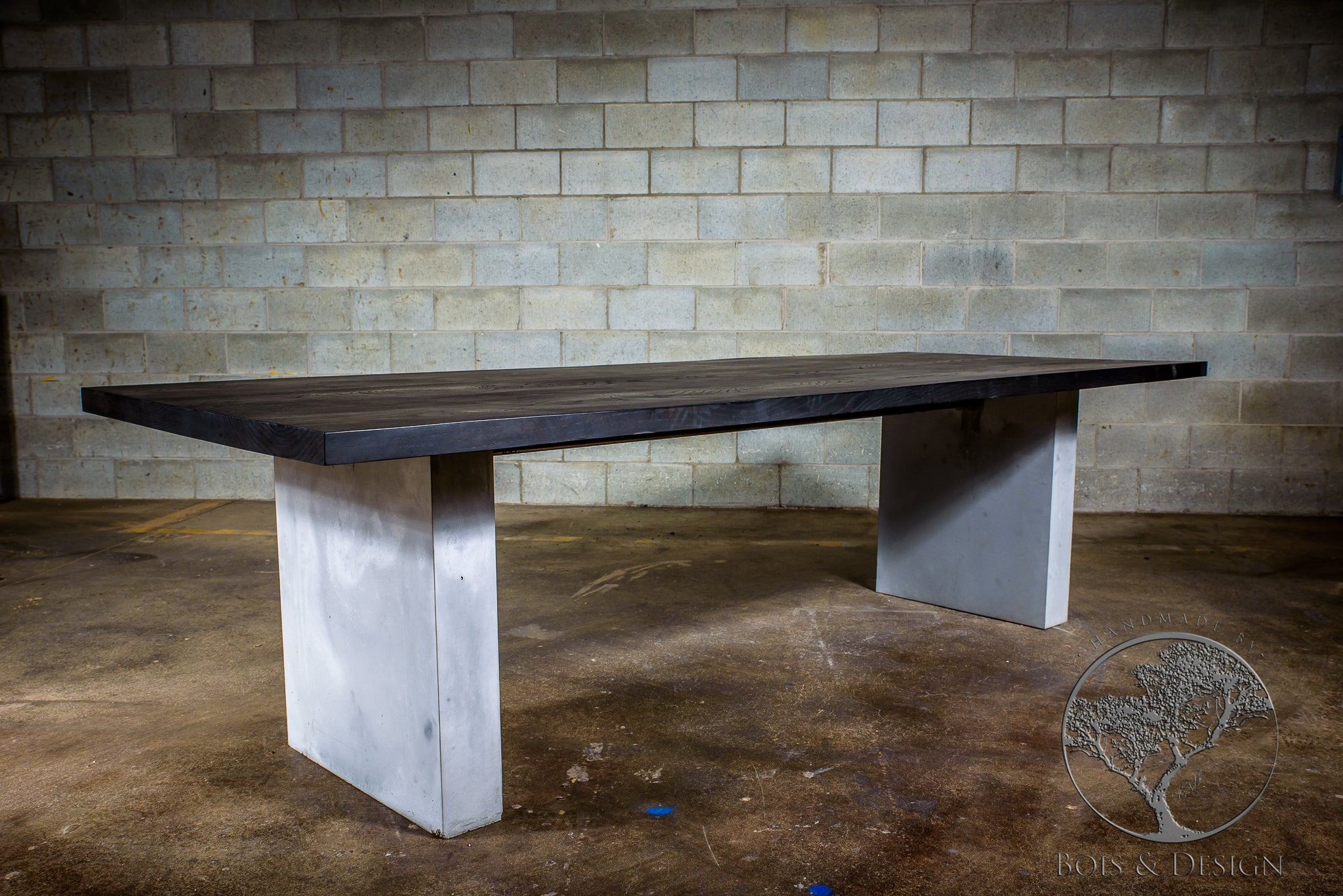 Table En Bois Design Ash Dining Table Stained Black On Concrete Legs