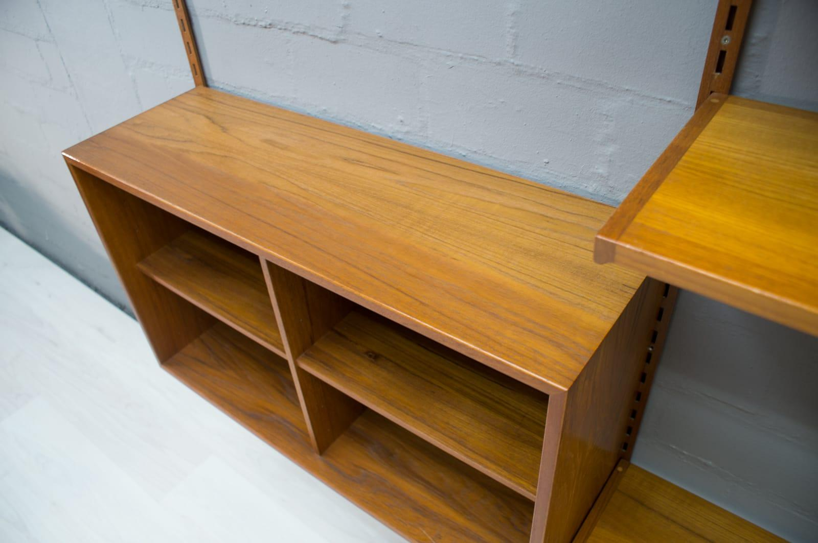Wandregal Teak Teak Shelving Unit With A Secretary By Kai Kristiansen For Fm Møbler 1960s