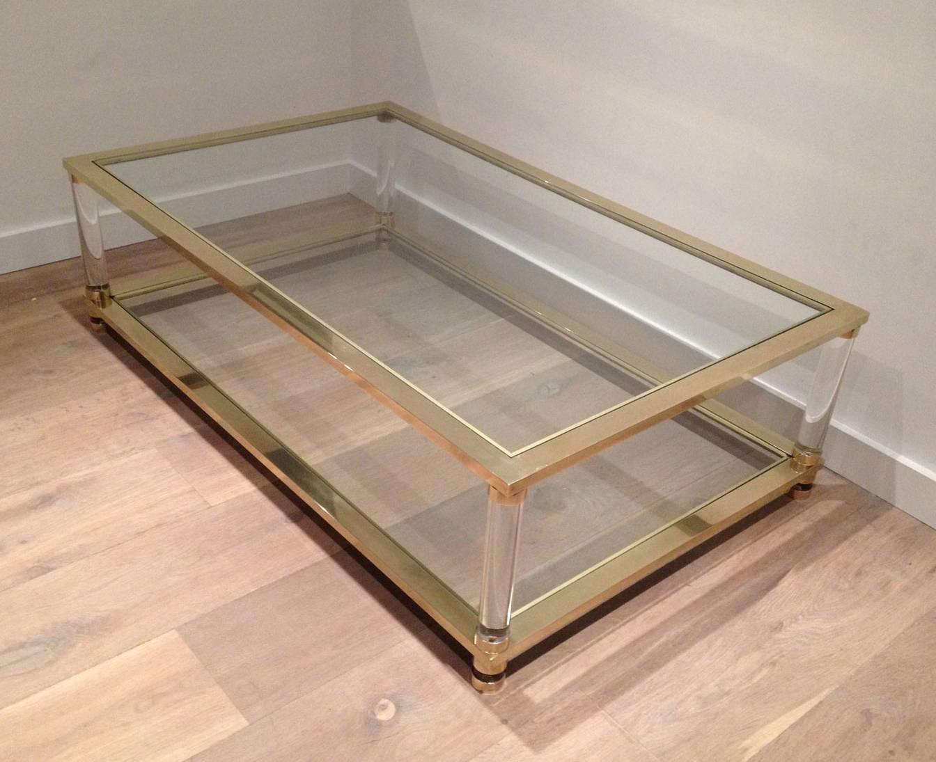 Large Brass And Lucite Coffee Table For Sale At 1stdibs