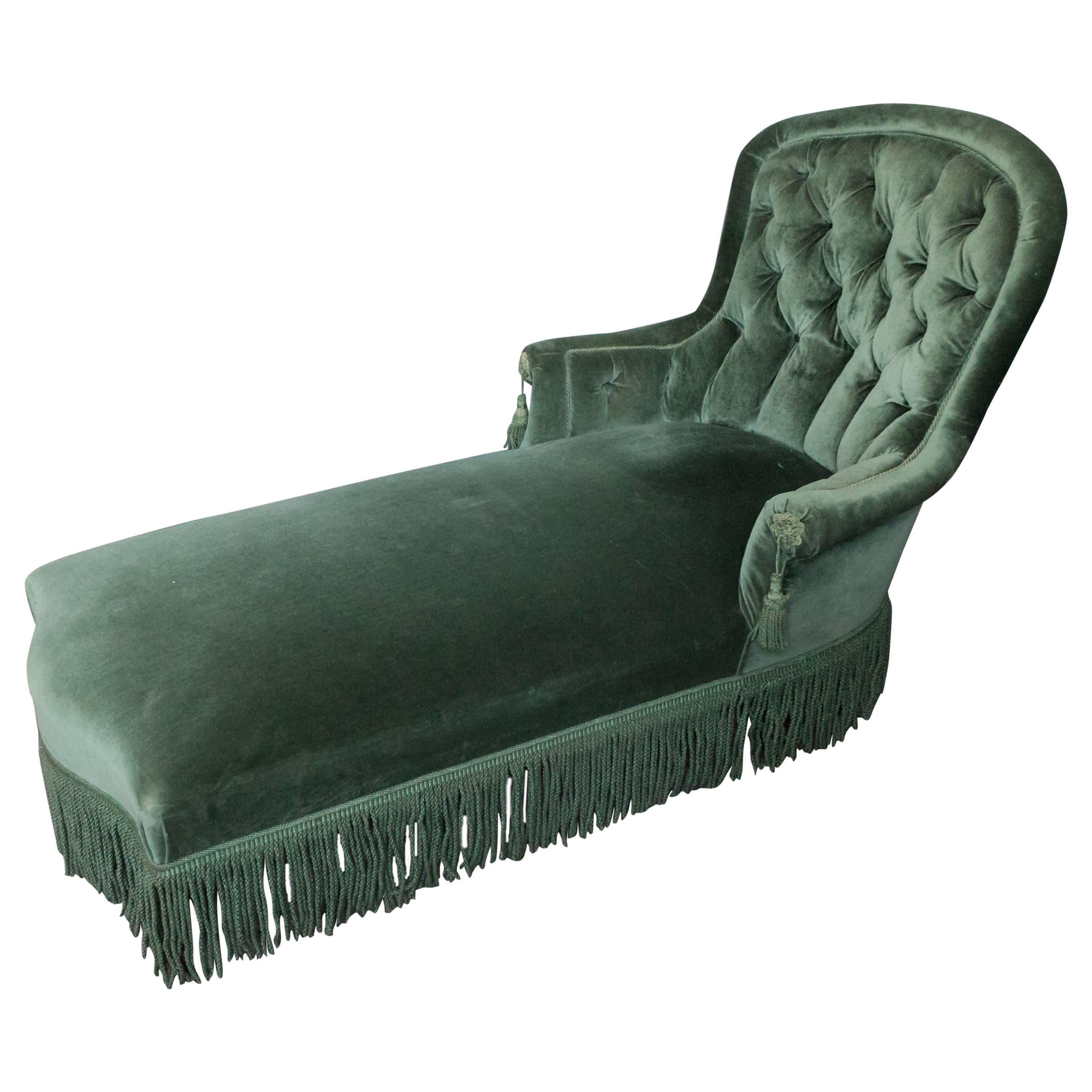 Location De Chaises Napoleon French Napoleon Iii Period Green Velvet Chaise Lounge