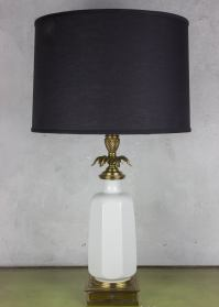Midcentury White Porcelain and Brass Table Lamp For Sale ...