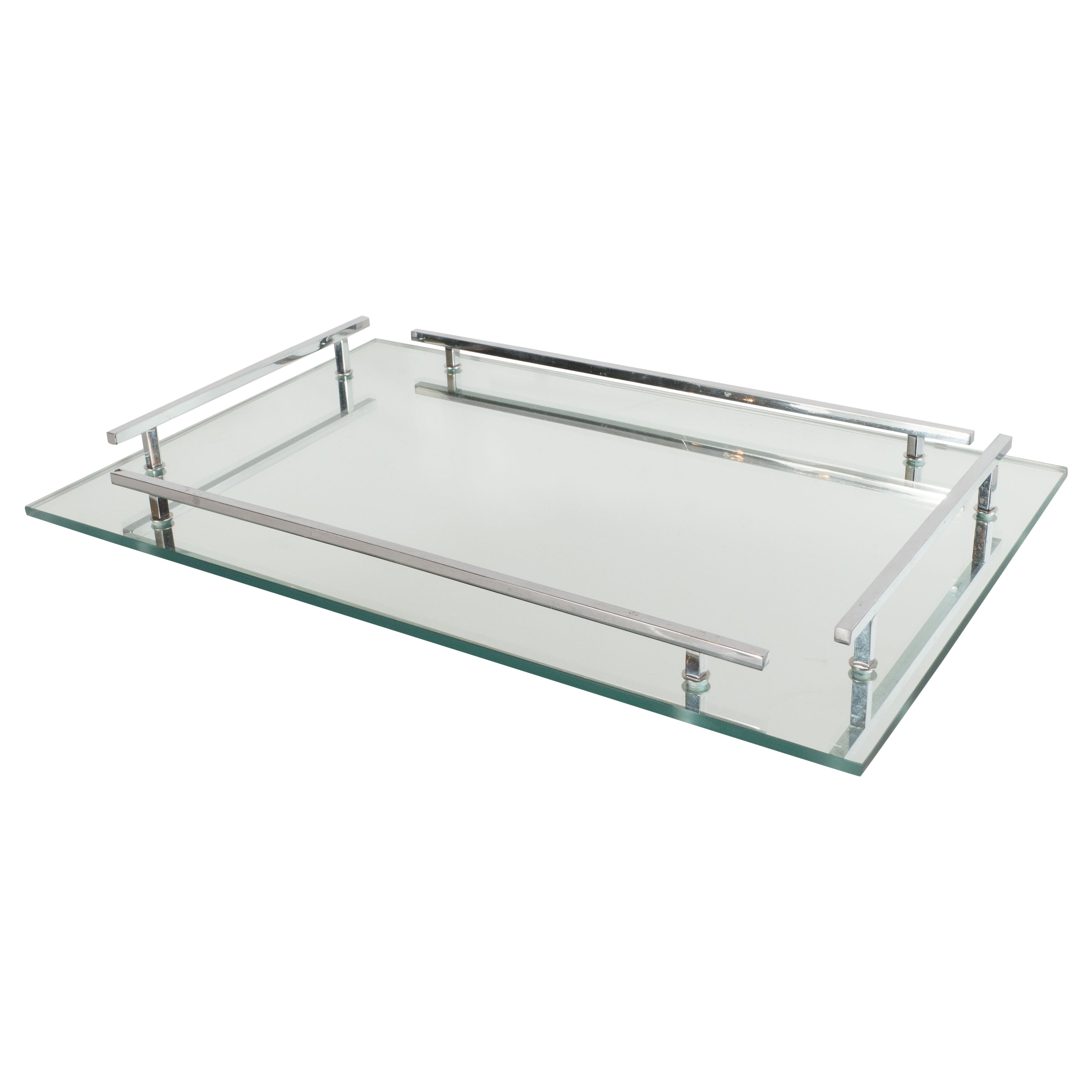 Objet Deco Chrome French Art Deco Mirrored Tray With Rectangular Polished Chrome Handles