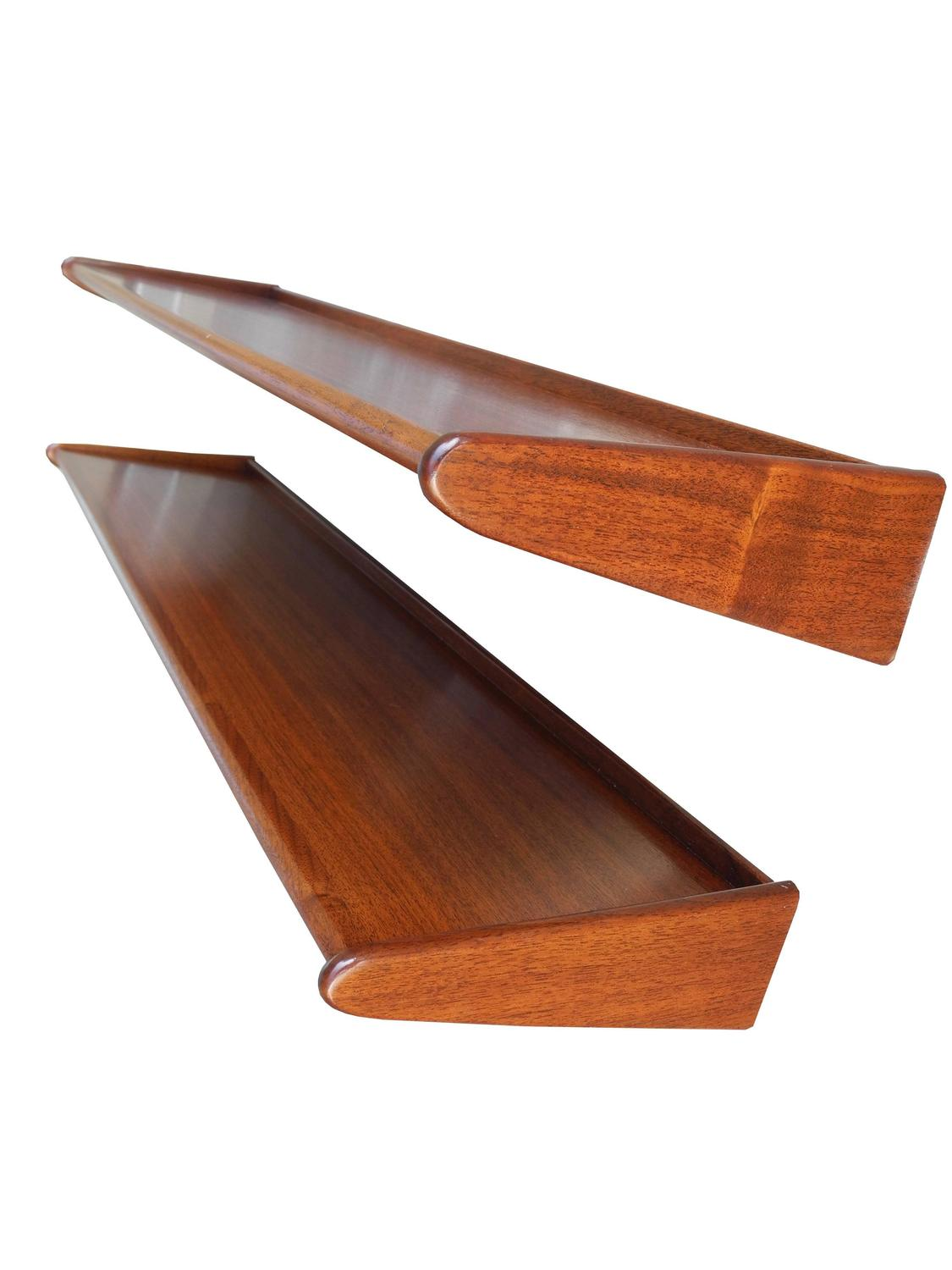 Mid Century Danish Modern Teak Floating Shelves 1950s For
