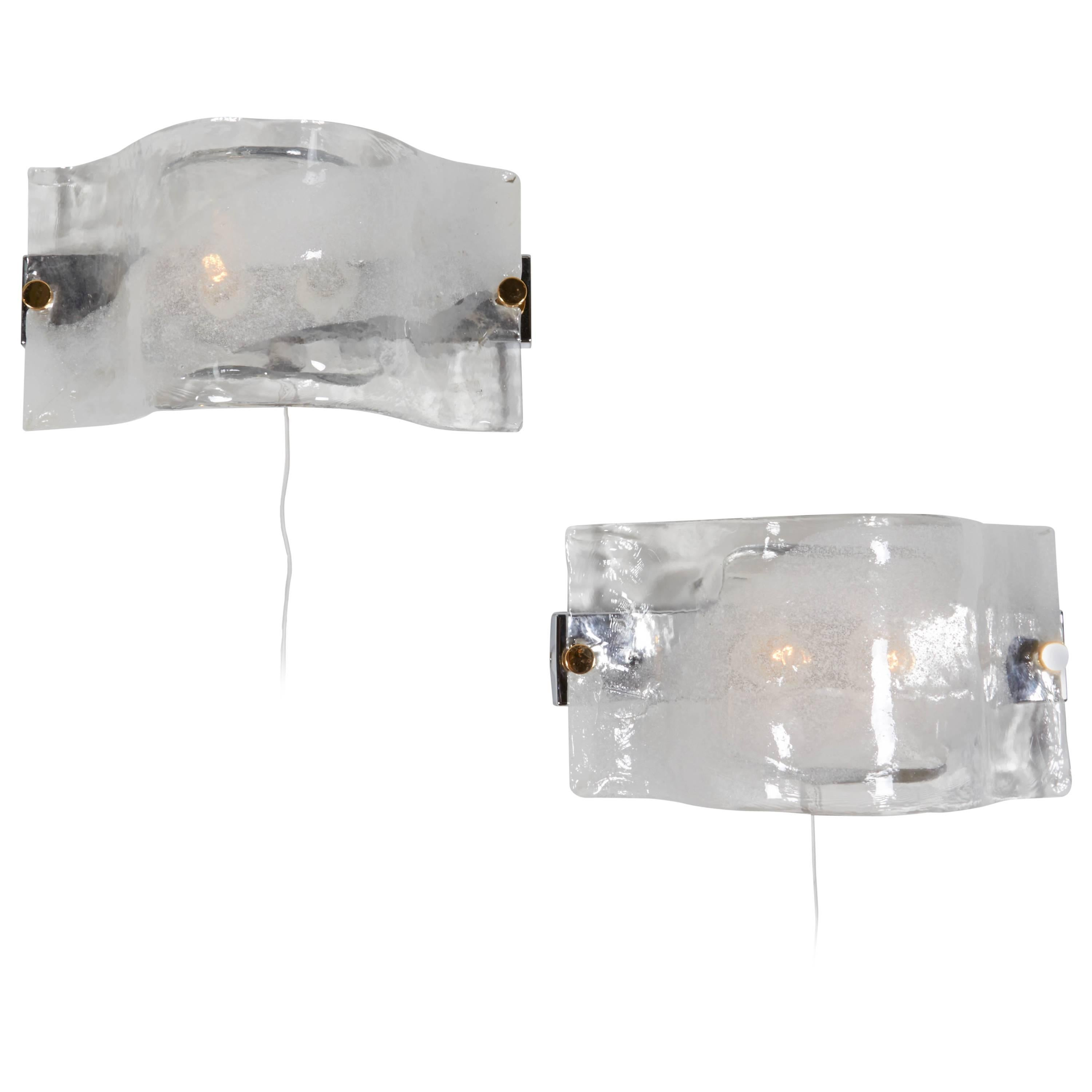 Mazzega Horizontal Frosted Glass Sconces with Brass