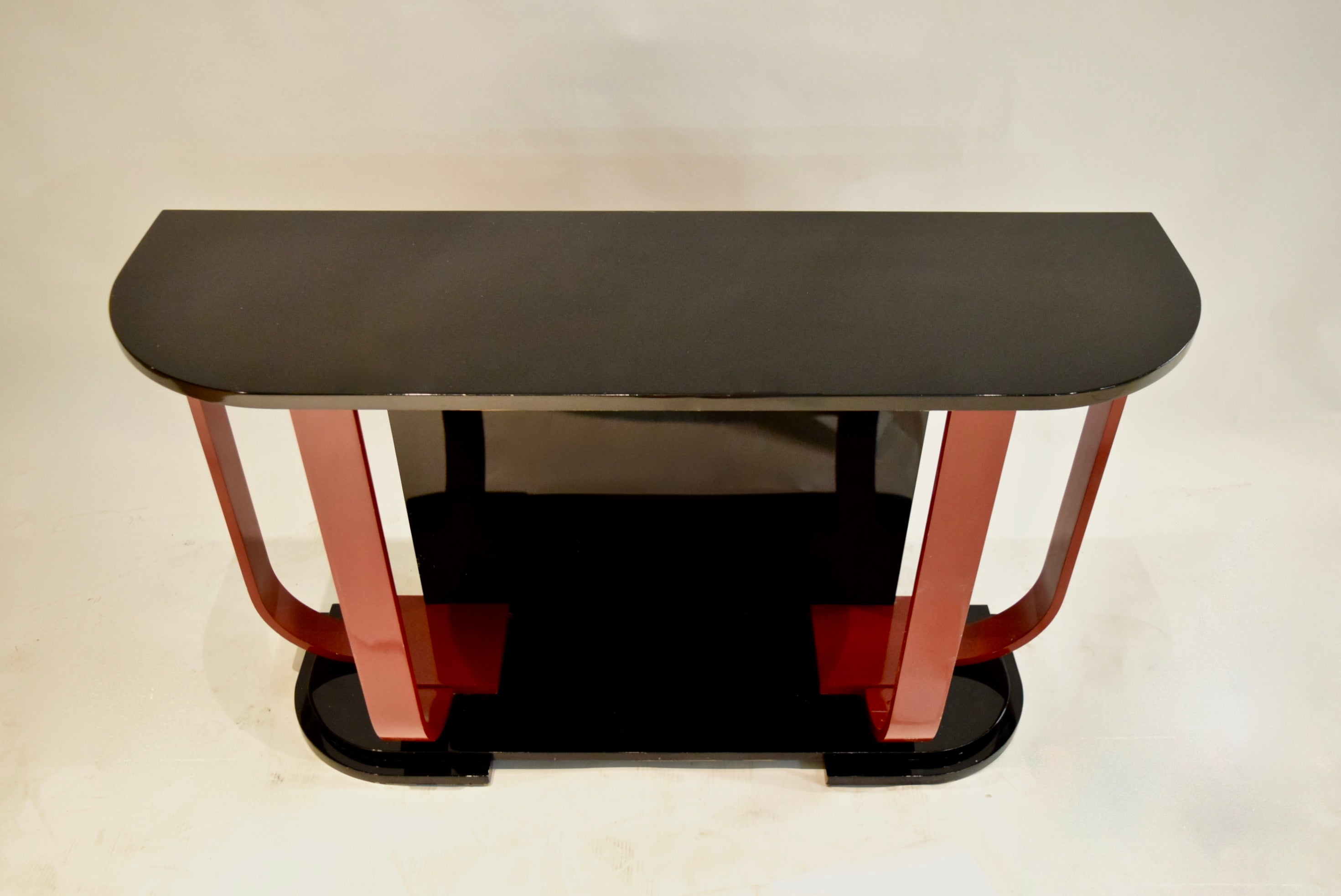 Roche Bobois Console Black And Red Lacquered Console By Roche Bobois Circa 1975 Made In France