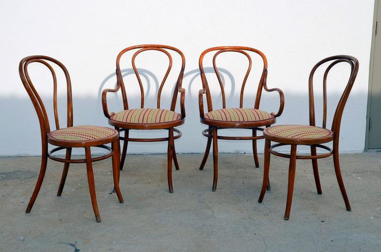 Set Of Four Large Slender Bentwood Dining Set By Thonet