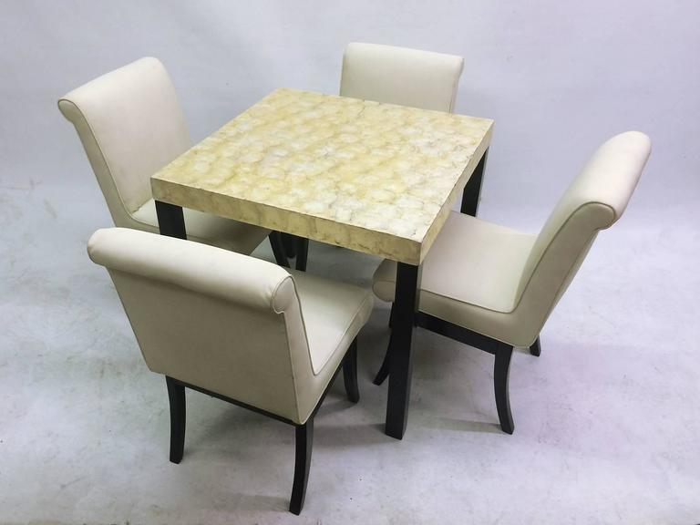 Vkg Dining Or Game Set With Abalone Top Table And Four