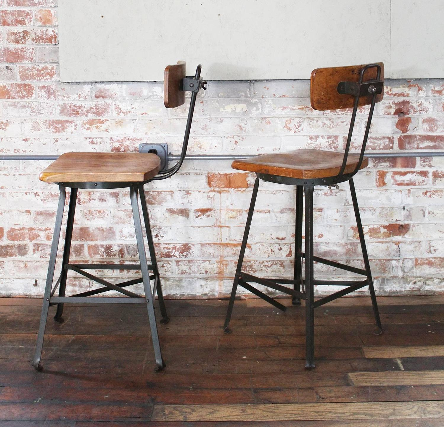 Wood And Metal Bar Stools Pair Of Vintage Industrial Wood And Metal Bar Stools For
