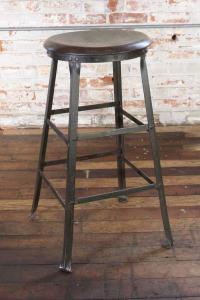 Rustic Bar Stool Backless Kitchen Wood and Metal Bar Stool ...