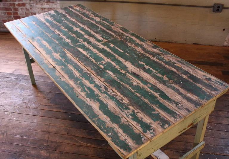 Vintage Rustic Farm Distressed Folding Dining Work Table Painted Wood Industrial For Sale At 1stdibs