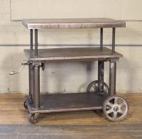 Bar Cart, Rolling Table Vintage Industrial Adjustable