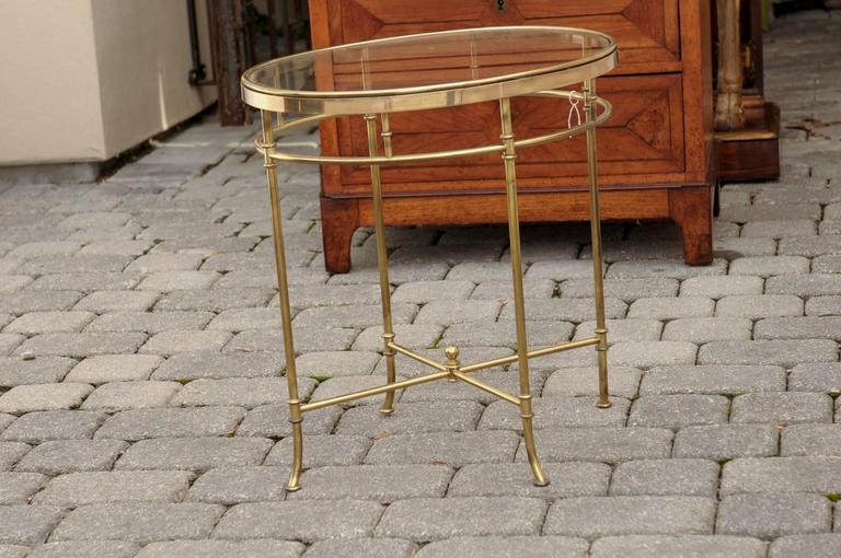 Italian Mid Century Oval Brass And Glass Top Side Table