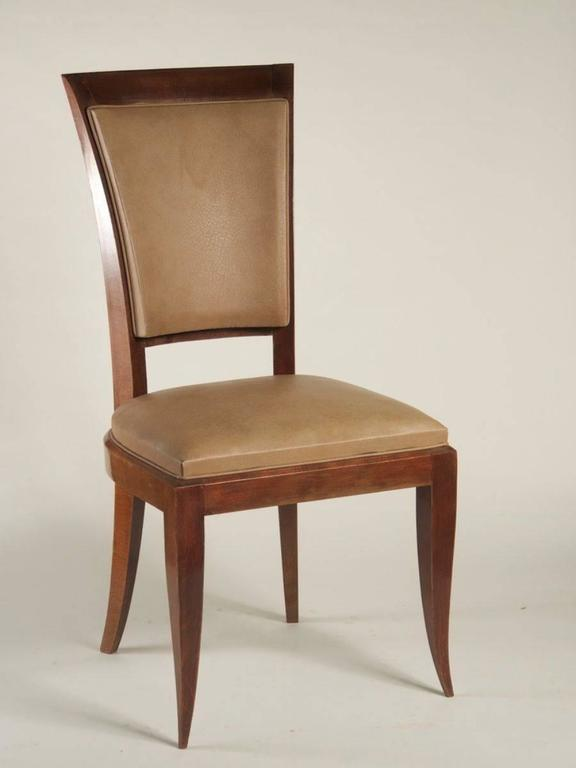French 1940s Set Of Eight High Back Dining Chairs For Sale