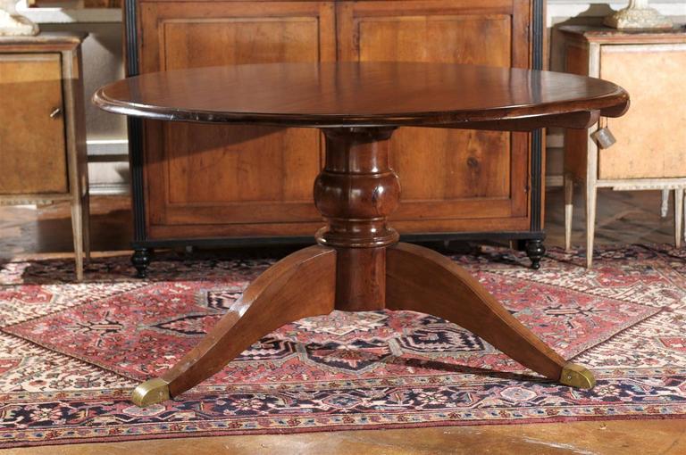 Italian Round Walnut Pedestal Dining Table With Tilt Top