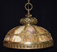 Antique Chandelier, Slag Glass Hanging Lamp For Sale at ...