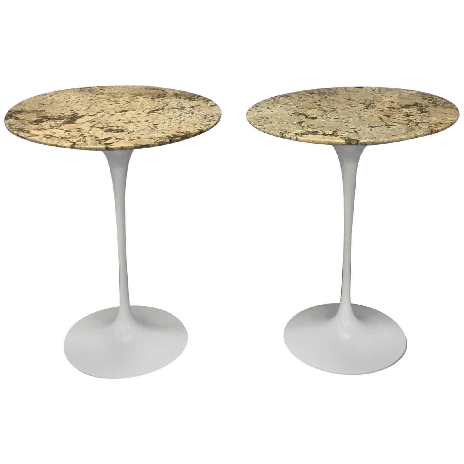 Tables Knoll Pair Of Custom Stone Top Early Iron Base Saarinen For Knoll Tulip Tables