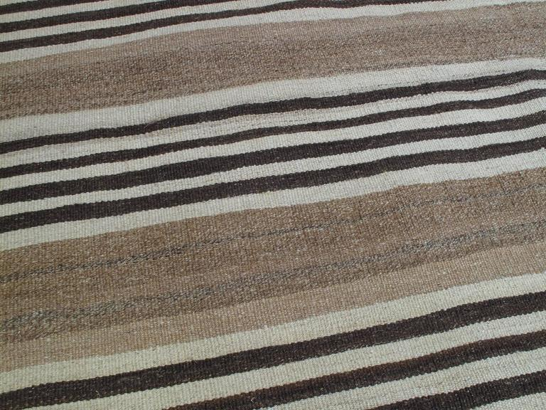 Striped Kilim Wide Runner In Natural Brown At 1stdibs