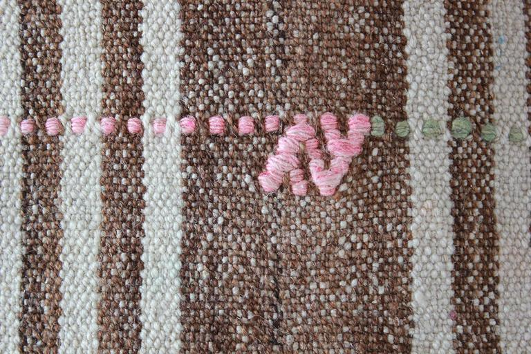 Turkish Brown And Natural Striped Rug With Pink And Orange