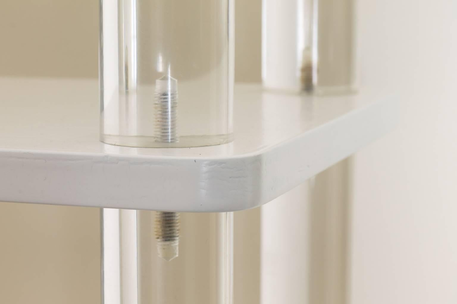 1970s Mid Century Etagere With Lucite Columns At 1stdibs