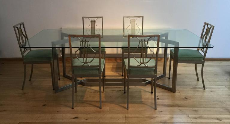 1970s French Dining Table And Set Of Six Chairs For Sale