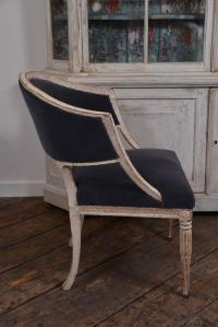 Swedish Gustavian Barrel Back Chair For Sale at 1stdibs