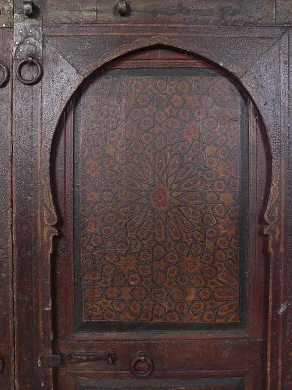 Courtyard Gates Pair Of Exotic Hand-painted Antique Moroccan Doors For