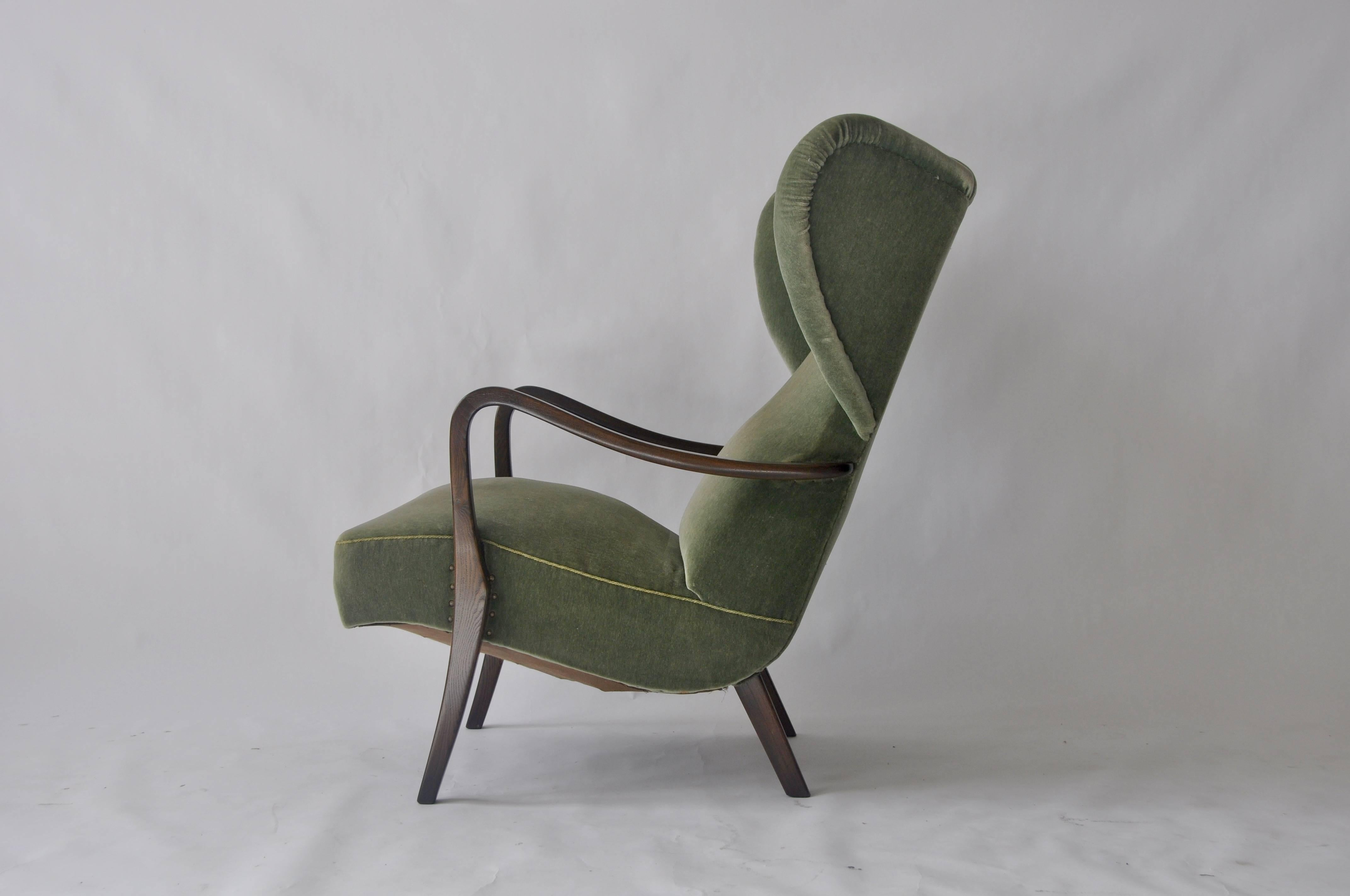 1950s Danish Wingback Lounge Chair At 1stdibs