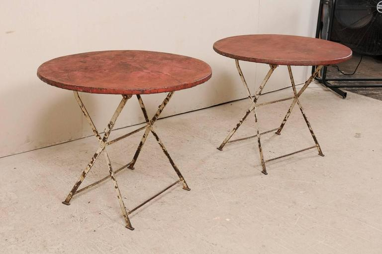 Pair Of French Vintage Bistrot Cafe Folding Patio