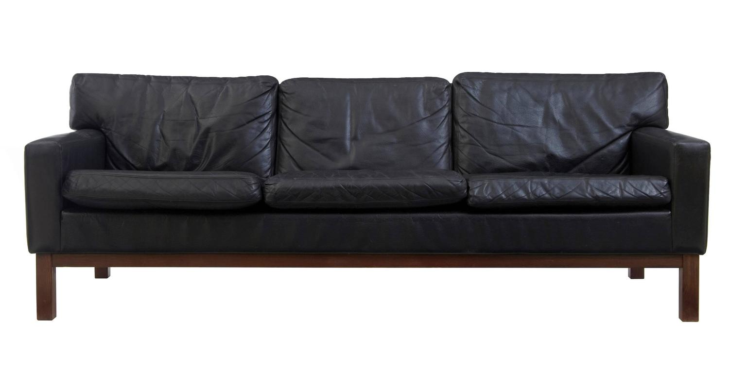 Scandinavian Furniture Sale Pair Of 1960s Danish Scandinavian Black Leather Sofas For