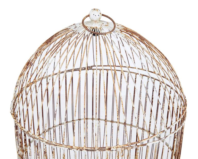 19th Century Large Wire Frame Decorative Bird Cage For