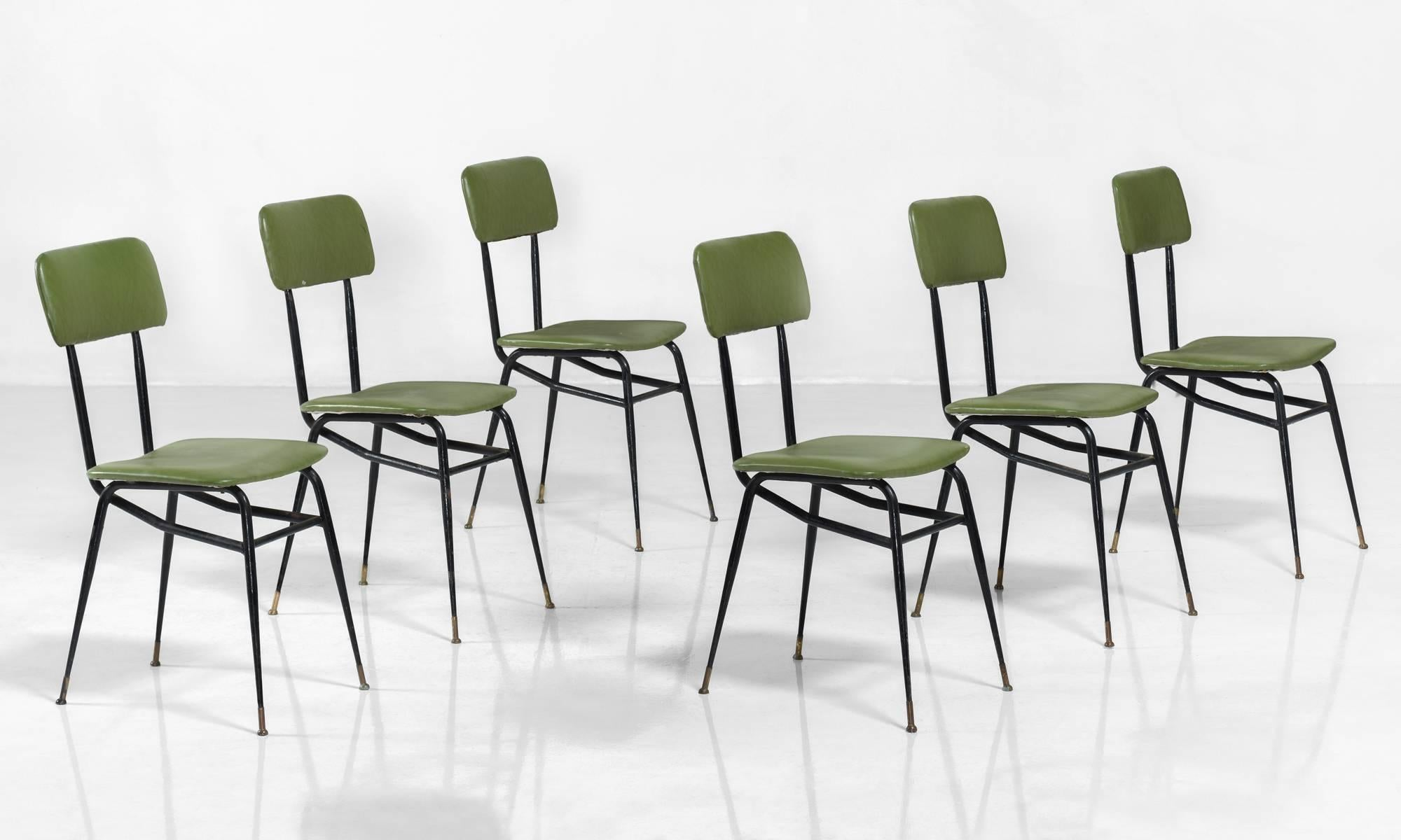 Set Of Six Black Metal And Lime Green Vinyl Dining Chairs