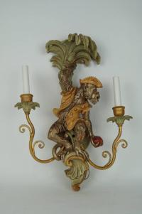 Pair of Two-Arm Wall Light Sconces with Monkey Figures at ...