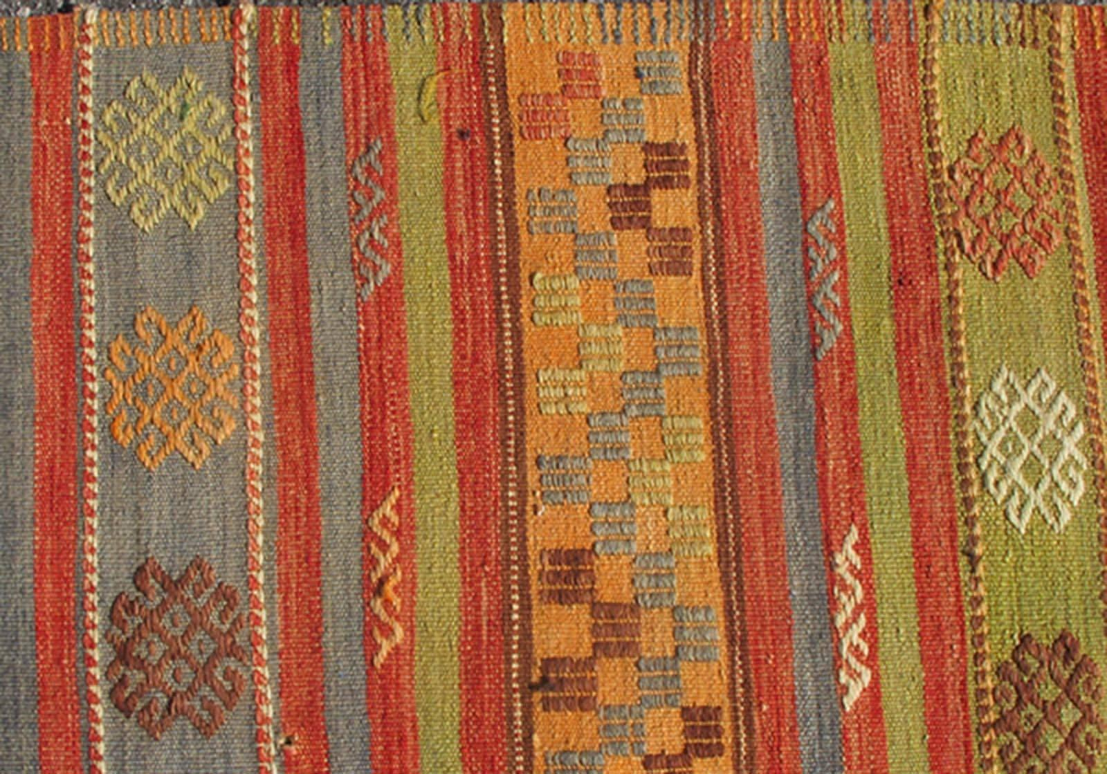 Multicolored Vintage Turkish Kilim Rug With Geometric